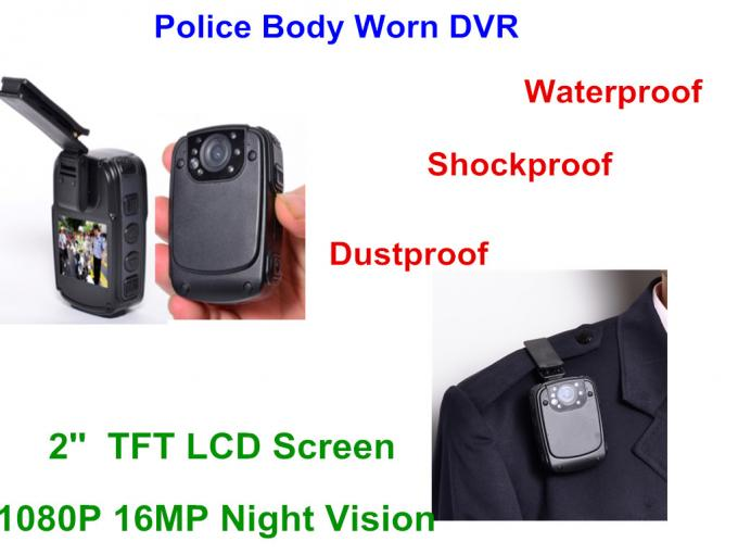 2'' Screen Police Wearable Camera , Night Vision Camera 130 Degree Wide Angle