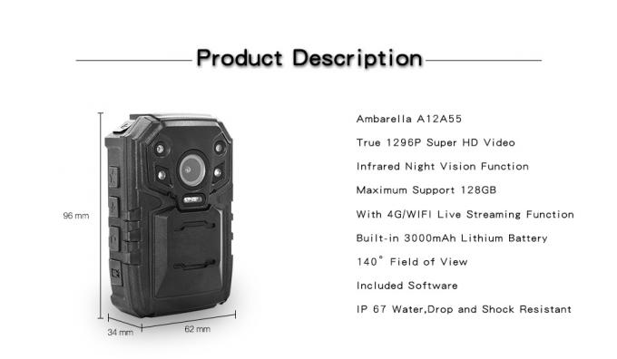 High Resolution Police Wearable Camera , Waterproof Body Camera Face Detect
