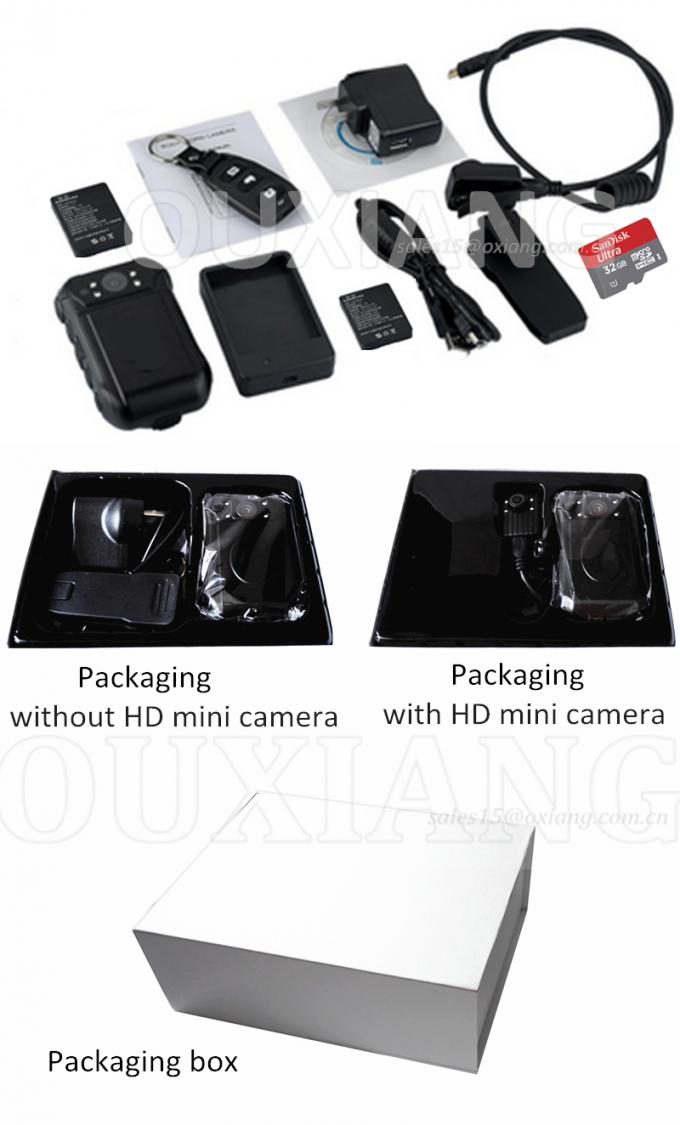 Portable Police Wearing Body Cameras Ambarella A7 2 Inch TFT LCD Color Display