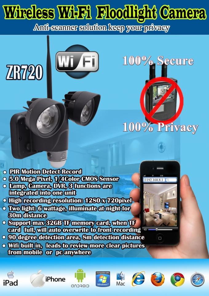 720P 1.4MP Wifi Security Camera Wireless DVR LED Light Lamp With PIR Motion Detection