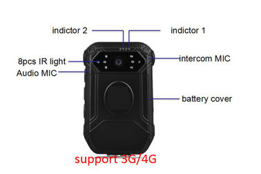 Law Enforcement Waterproof Body Camera 140 Degree Angle View 3600 MAH Battery
